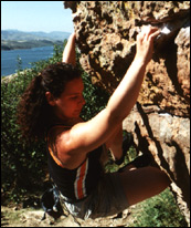 Heidi bouldering at Horsetooth res